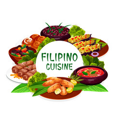 Filipino cuisine dishes round frame vector