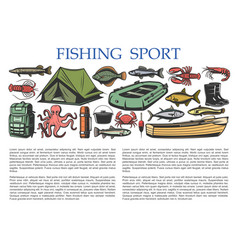 Fishing sport equipment fisherman catch tackles vector