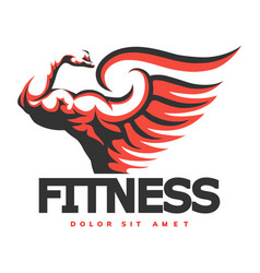 fitness emblem with bodybuilder hand vector image