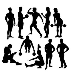 fitness sport activity silhouettes vector image