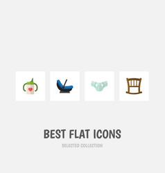 Flat icon baby set of nappy pram nursing bottle vector