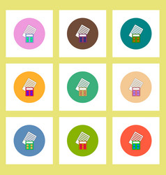Flat icons set of calculator and blank concept on vector