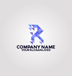 geometry polygon triangle logo letter r 01 vector image