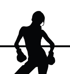 Girl boxing silhouette vector