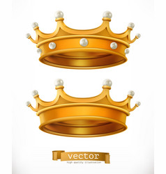 Gold crown king 3d realistic icon vector