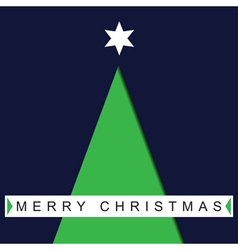 greeting card Christmas green tree and text vector image
