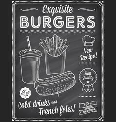 grunge chalkboard fast food menu template 2 vector image