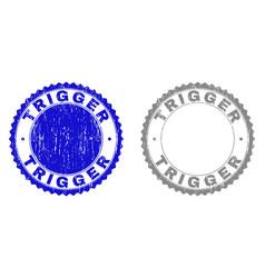 Grunge trigger textured stamp seals vector