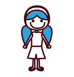 Hand drawing silhouette girl with blue pigtails vector