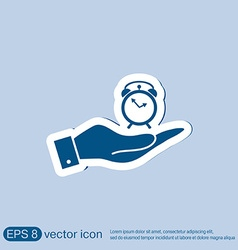 hand holding a Symbol morning Alarm icon The vector image
