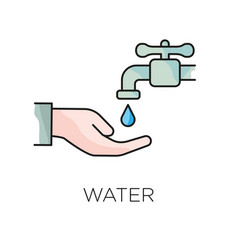 Hand holding water drop line icon outline sign vector