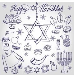 Hanukkah symbolsDoodle linearJewish Holiday set vector image