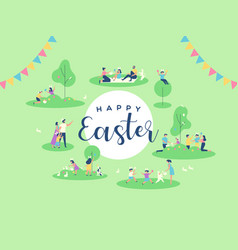 happy easter card family people in spring park vector image