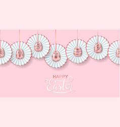 happy easter seamless pink and white border with vector image