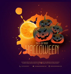 Happy halloween pumpkins poster design with moon vector