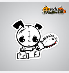 helloween evil dog voodoo doll pop art comic vector image