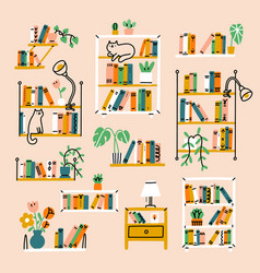 Home library aesthetic collection vector