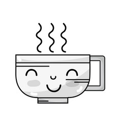 Line kawaii cute happy coffee cup vector