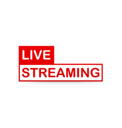 Live streaming label red design element with play vector