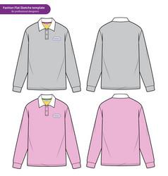 Long sleeve polo shirts fashion flat technical vector