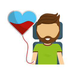 Man donating blood with beard vector