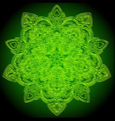 mandala green and yellow ornament vector image