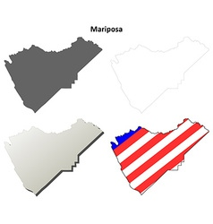 Mariposa County California outline map set vector