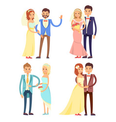 married couple and hugs set vector image