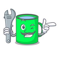 Mechanic mug mascot cartoon style vector