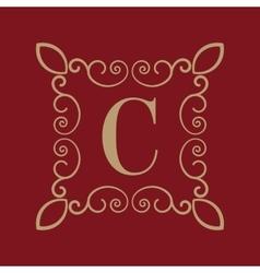 Monogram letter C Calligraphic ornament Gold vector image vector image