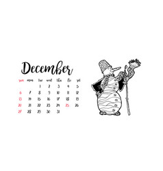 Monthly desk calendar template for month december vector