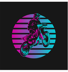motocross sunset retro vector image