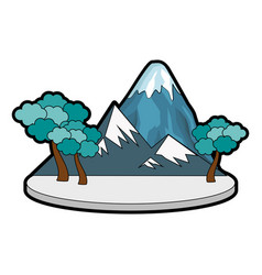 mountain with snowy and trees vector image