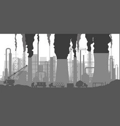 Panoramic industrial silhouette landscape vector