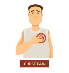 Person having chest pain and holding his heart vector