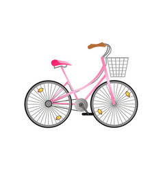 Pink metal woman bicycle with metal basket and vector