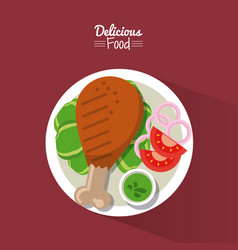 poster delicious food in purple background with vector image