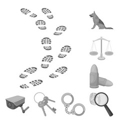 Prison and the criminalmonochrome icons in set vector