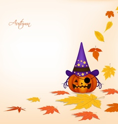 Pumpkin and autumn background vector