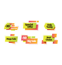 sale banner set special discount only today vector image