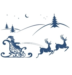 Santa Claus and deer flying vector