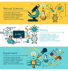 Science Line Banners Set vector