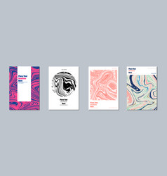 Set abstract marble backgrounds ink vector
