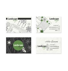 Set business cards landscape design vector