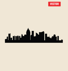 set cities silhouette vector image