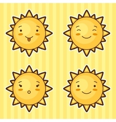 Set of kawaii suns with different facial vector