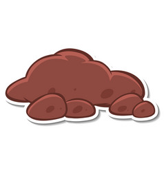 Sticker design with heap soil isolated vector