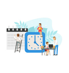 tiny office workers planning schedule and working vector image