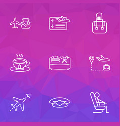 transportation icons line style set with pilot cap vector image