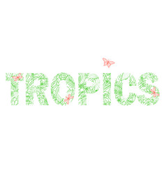 tropics t-shirt print with exotic flowers vector image
